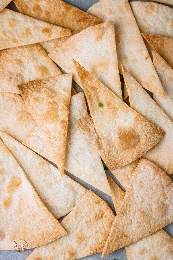 homemade baked flour tortilla chips.