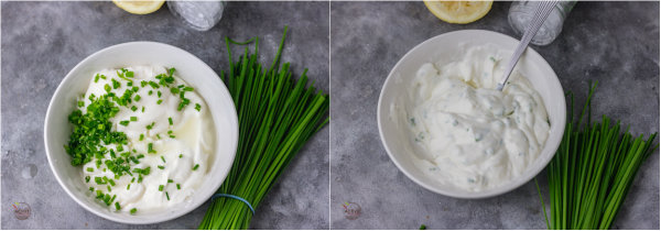 process shot of how to make sour cream and chive dip.