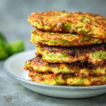 Courgette and sweetcorn fritters.