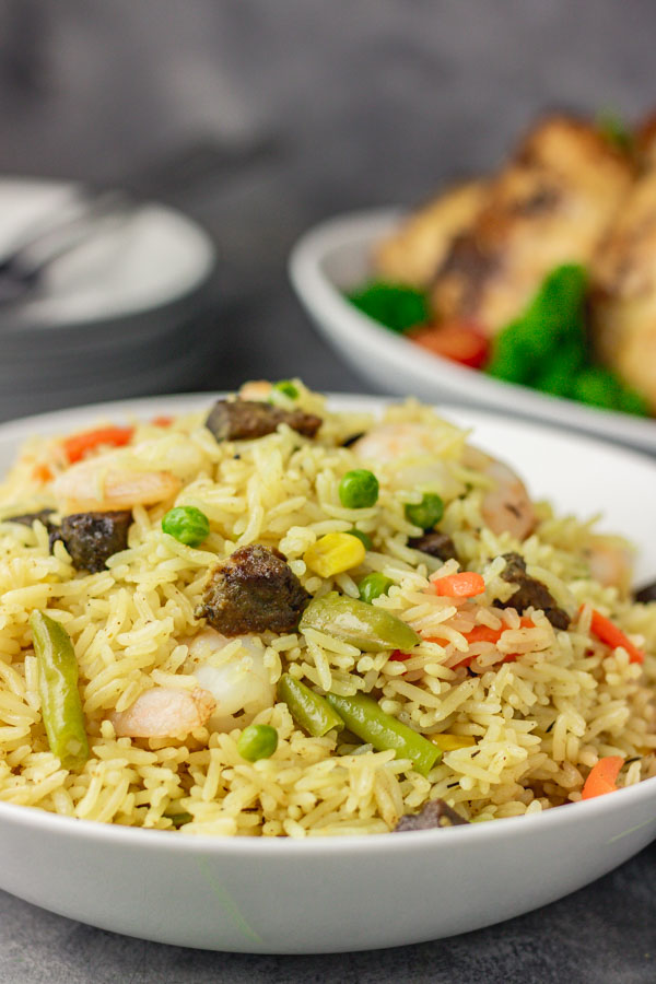 a bowl of nigerian fried rice.
