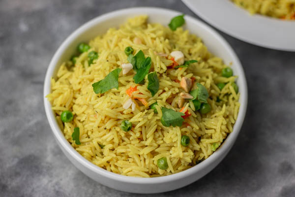 a bowl of cooked rice.