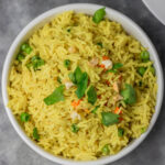 a bowl of yellow rice.