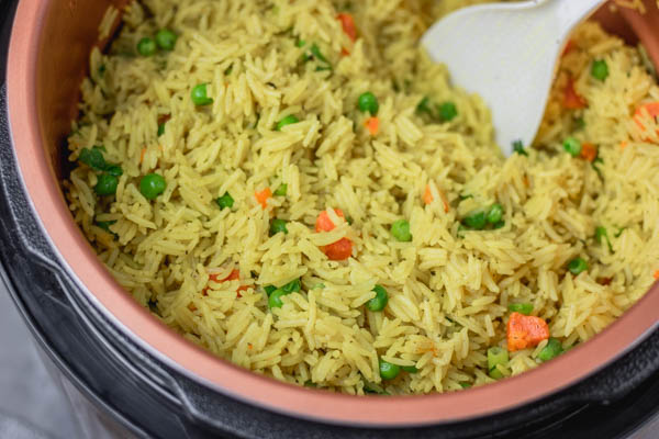 cooked rice in a pot.