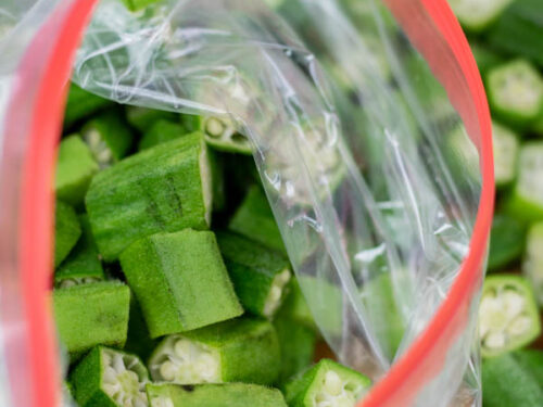 chopped okra in a freezer bag.