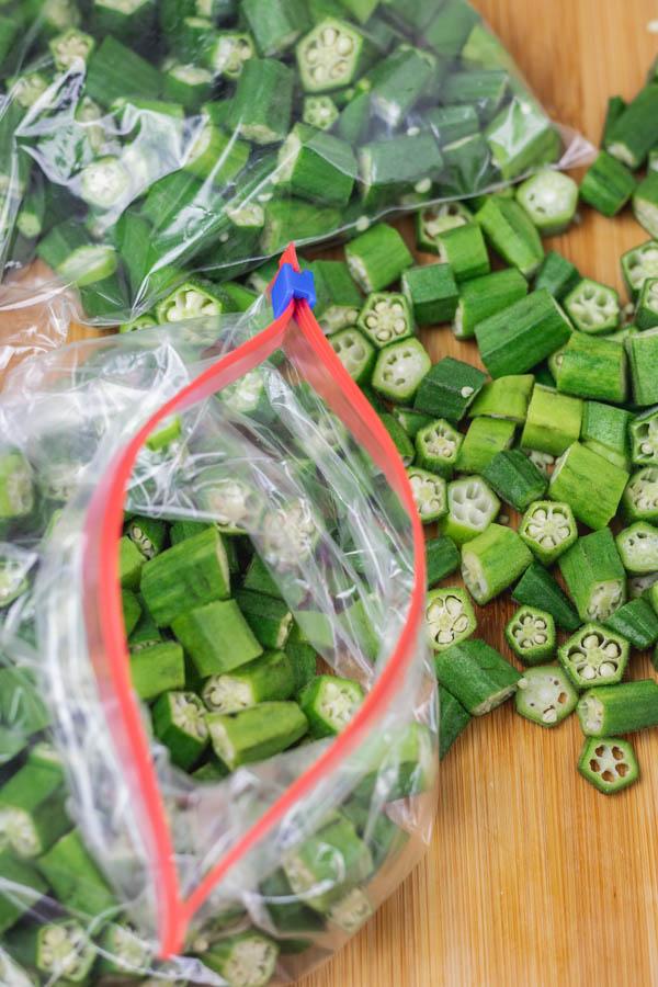 sliced okra in freezer bags.