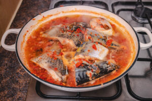 fish steaks in sauce.
