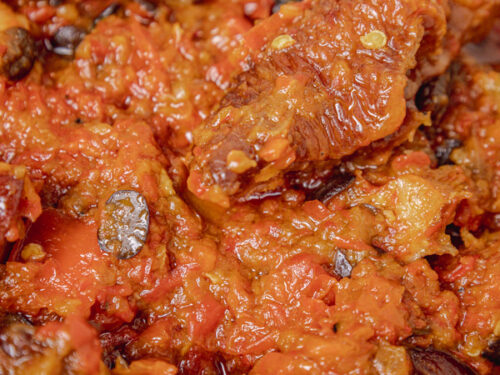 a close shot of turkey stew.